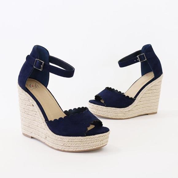 Navy Wedge Sandal Delicious Espadrille ShoesHerald Poshmark deBorxCW